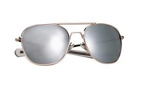 Очки с чехлом G.I. Type Pilot's Aviator Gold Mirror
