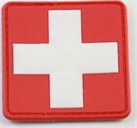 Нашивка на липучке ПВХ Медицинский крест белый на красном