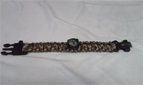 Браслет из паракорда с компасом, кресалом и свистком вудланд