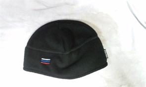 Шапка флис с увеличенной ушной зоной с российским флагом черная