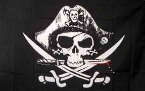Флаг пиратский с треуголкой 60 x 90 см