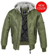 Куртка летная бомбер с капюшоном MA-1 Brandit Olive Grey
