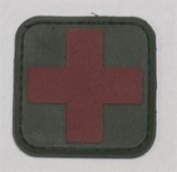 Шеврон на липучке Medic PVC красный на зеленом - фото 10839