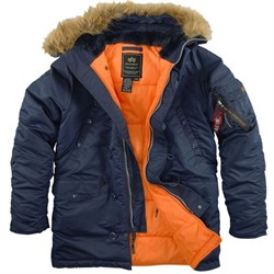 Куртка аляска N-3B Parka Slim Fit Replica Blue/Orange Alpha - фото 12843