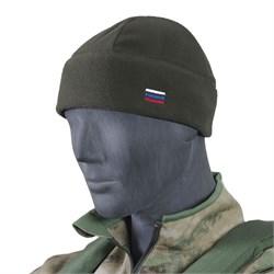 Шапка флис с российским флагом олива - фото 14535