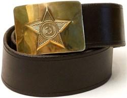 Ремень солдатский коричневый с латунной бляхой кожзам - фото 15050