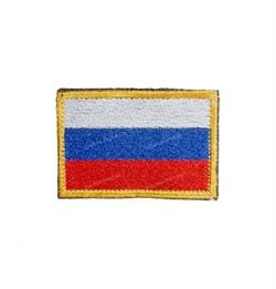 Шеврон на липучке флаг России с желтой каймой - фото 15470