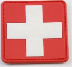 Шеврон на липучке ПВХ Медицинский крест белый на красном - фото 16030