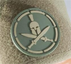 Шеврон на липучке Spartan Helmet PVC олива - фото 16267