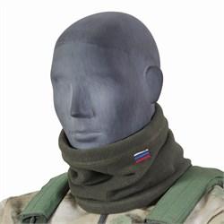 Утеплитель для шеи флисовый олива с российским флагом - фото 16504