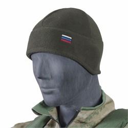 Шапка флис с увеличенной ушной зоной с российским флагом олива - фото 16513