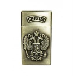 Зажигалка газовая турбо Герб России металл 30х60 мм - фото 17100