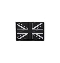 Шеврон на липучке PVC Флаг Великобритании черно-белый - фото 17251