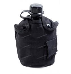 Фляга пластиковая 1л в чехле с кружкой black - фото 17512