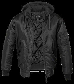Куртка летная бомбер с капюшоном MA-1 Brandit Black - фото 18450