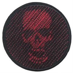 Шеврон на липучке Череп 3D диагональ красный - фото 18991