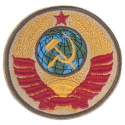 Шеврон на липучке Герб СССР бежевый - фото 20424