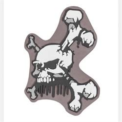 Шеврон ПВХ на липучке Череп и кости коричневый - фото 20428
