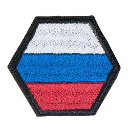 Шеврон на липучке Флаг РФ шестиугольник - фото 20432
