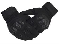 Перчатки тактические с дополнительной защитой черные - фото 23645