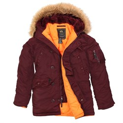Куртка аляска N-3B Parka Slim Fit Maroon Alpha - фото 6990