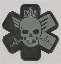 Шеврон на липучке Paramedic PVC серый - фото 9229
