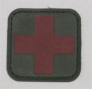 Шеврон на липучке Medic PVC красный на зеленом
