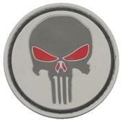 Шеврон на липучке Punisher серый PVC