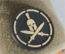 Шеврон на липучке Spartan Helmet PVC черный
