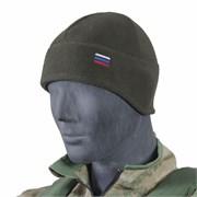 Шапка флис с увеличенной ушной зоной с российским флагом олива