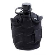 Фляга пластиковая 1л в чехле с кружкой black