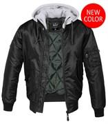 Куртка летная бомбер с капюшоном MA-1 Brandit Black Grey