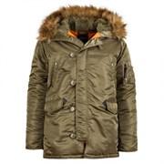 Куртка аляска N-3B Parka Slim Fit Vintage Olive Alpha
