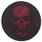 Шеврон на липучке Череп 3D диагональ красный