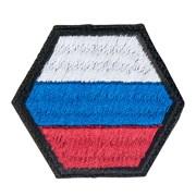 Шеврон на липучке Флаг РФ шестиугольник