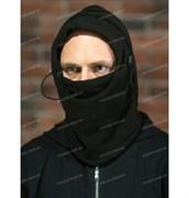 Балаклава-маска флис+иск. мех черная