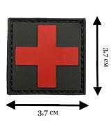 Шеврон на липучке ПВХ Медицинский крест красный на черном