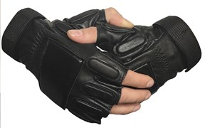 Перчатки кожаные с накладками без пальцев