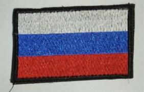 Шеврон на липучке Флаг России с черной окантовкой